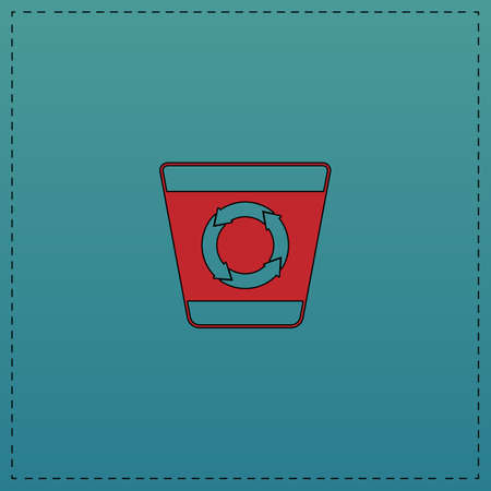 Recycle bin Red vector icon with black contour line. Flat computer symbol on blue background