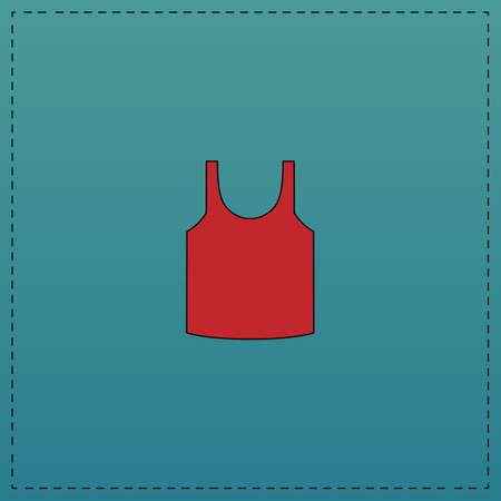singlet Red vector icon with black contour line. Flat computer symbol on blue background