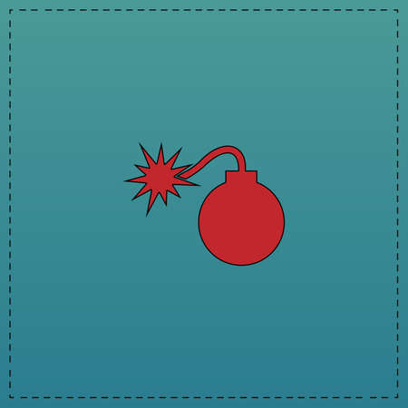 Bomb Red vector icon with black contour line. Flat computer symbol on blue background