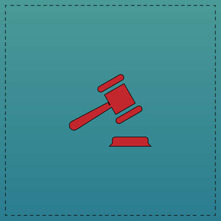 judge gavel: Judge gavel Red vector icon with black contour line. Flat computer symbol on blue background