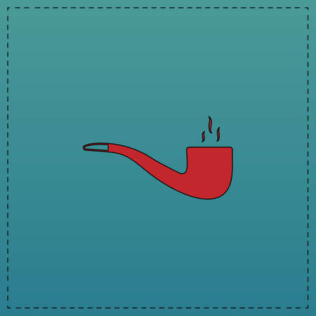 smoky pipe Red vector icon with black contour line. Flat computer symbol on blue background Illustration