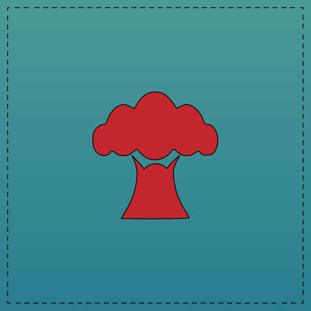 Baobab Red vector icon with black contour line. Flat computer symbol on blue background
