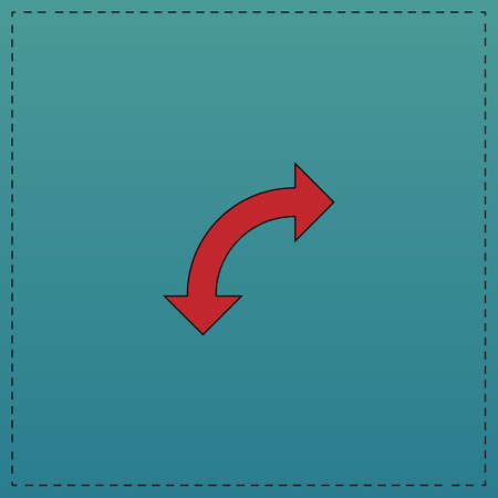 U-Turn Red vector icon with black contour line. Flat computer symbol on blue background Illustration