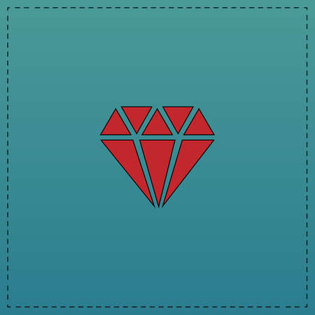 Diamond Red vector icon with black contour line. Flat computer symbol on blue background