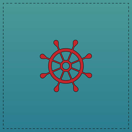 helm Red vector icon with black contour line. Flat computer symbol on blue background