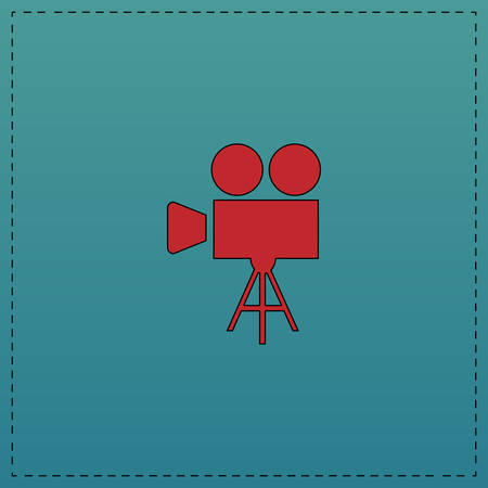 camcorder Red vector icon with black contour line. Flat computer symbol on blue background