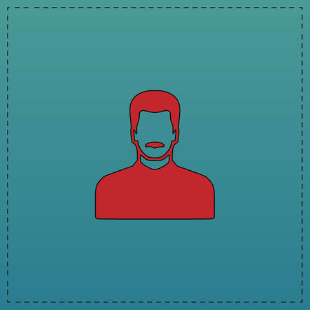 mustached man Red vector icon with black contour line. Flat computer symbol on blue background