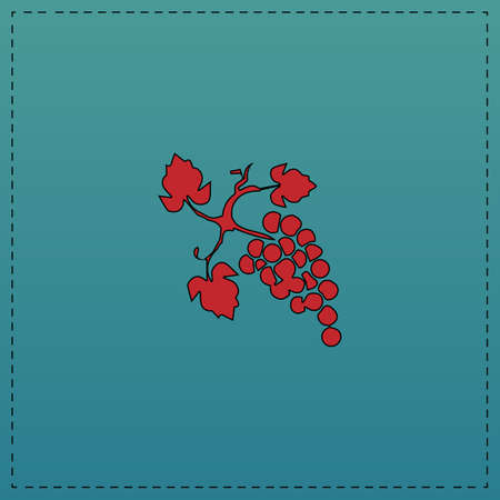 grapes Red vector icon with black contour line. Flat computer symbol on blue background