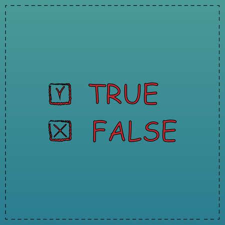 validez: Icono rojo del vector verdadero y falso con la línea de contorno negro. símbolo de la computadora plana sobre fondo azul Vectores