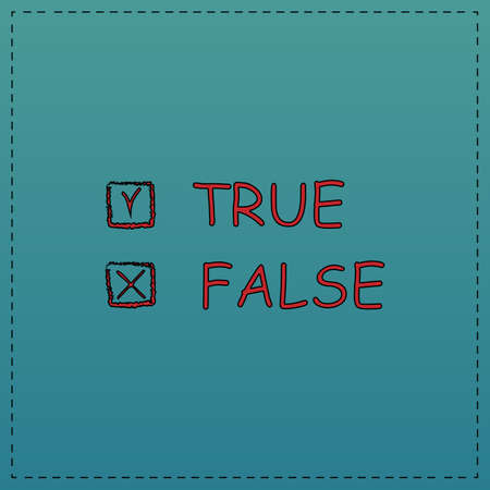 truthful: True and False Red vector icon with black contour line. Flat computer symbol on blue background