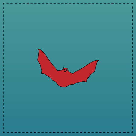 a nocturne: Bat Red vector icon with black contour line. Flat computer symbol on blue background