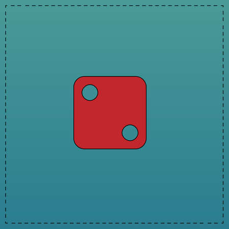dice 2 Red vector icon with black contour line. Flat computer symbol on blue background