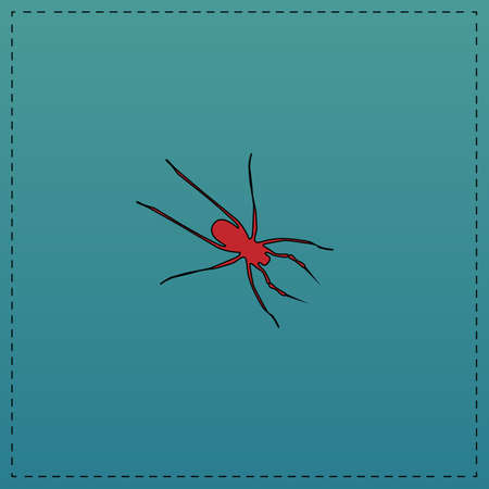 Spider Red vector icon with black contour line. Flat computer symbol on blue background