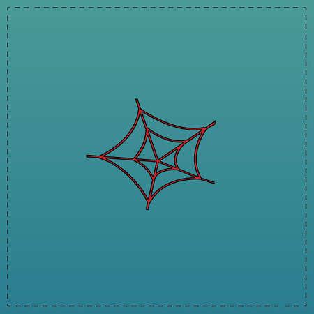 SpiderWeb Rode vector pictogram met zwarte contour lijn. Platte computer symbool op een blauwe achtergrond