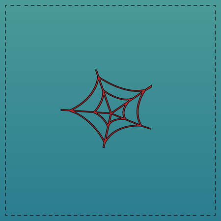 Spiderweb Red vector icon with black contour line. Flat computer symbol on blue background