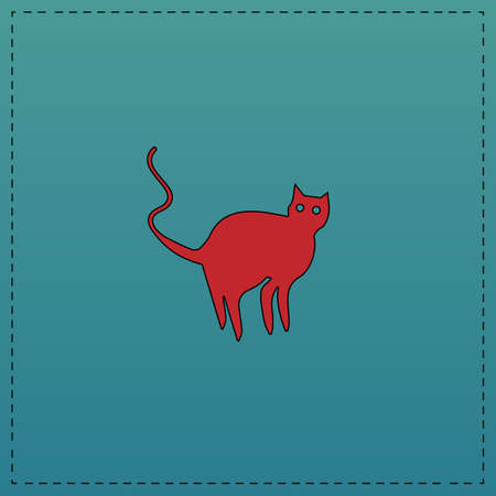 Evil Cat Red vector icon with black contour line. Flat computer symbol on blue background