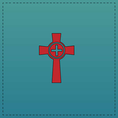 christian halloween: Tombstone Red vector icon with black contour line. Flat computer symbol on blue background