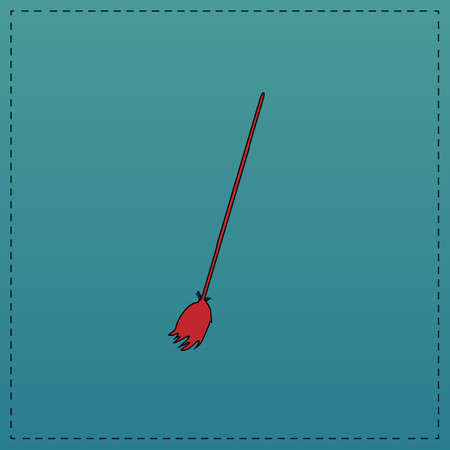 Broom Red vector icon with black contour line. Flat computer symbol on blue background