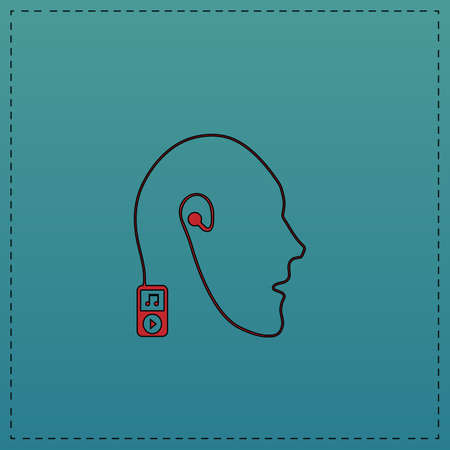 live stream listening: Favorite music Red vector icon with black contour line. Flat computer symbol on blue background Illustration