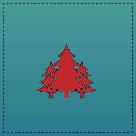 chritmas spruce Red vector icon with black contour line. Flat computer symbol on blue background