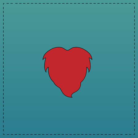 burly: Beard Red vector icon with black contour line. Flat computer symbol on blue background Illustration