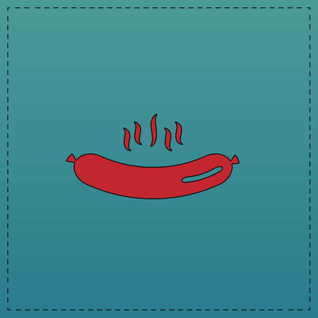 Hot Sausage Red vector icon with black contour line. Flat computer symbol on blue background