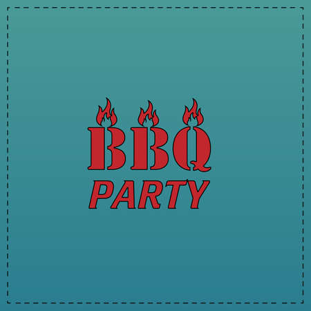 pork chop: Distressed BBQ Red vector icon with black contour line. Flat computer symbol on blue background