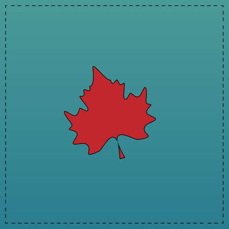 newfoundland: Maple Leaf Red vector icon with black contour line. Flat computer symbol on blue background