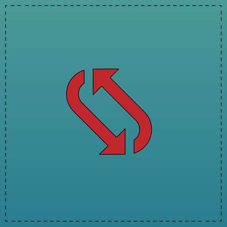 rotation Red vector icon with black contour line. Flat computer symbol on blue background