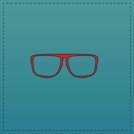 Glasses Red vector icon with black contour line. Flat computer symbol on blue background Illustration