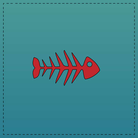 Fish skeleton Red vector icon with black contour line. Flat computer symbol on blue background