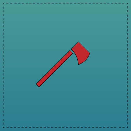 hatchet Red vector icon with black contour line. Flat computer symbol on blue background