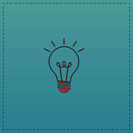 Light lamp Red vector icon with black contour line. Flat computer symbol on blue background Illustration