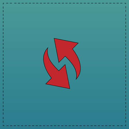 reload Red vector icon with black contour line. Flat computer symbol on blue background