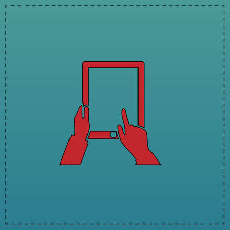 Tap Tablet Red vector icon with black contour line. Flat computer symbol on blue background Illustration