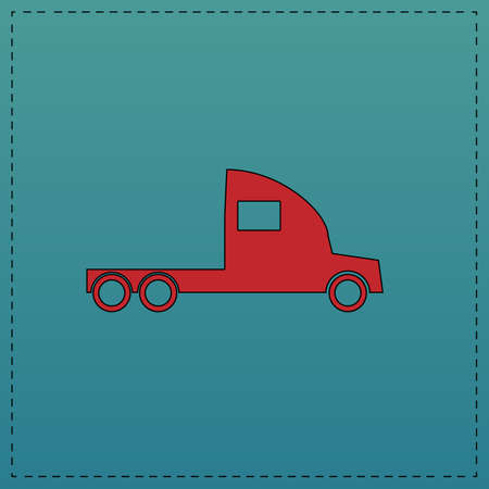 18 wheeler: cargo truck Red vector icon with black contour line. Flat computer symbol on blue background