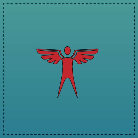 angel Red vector icon with black contour line. Flat computer symbol on blue background