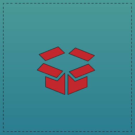 Open box Red vector icon with black contour line. Flat computer symbol on blue background Illustration