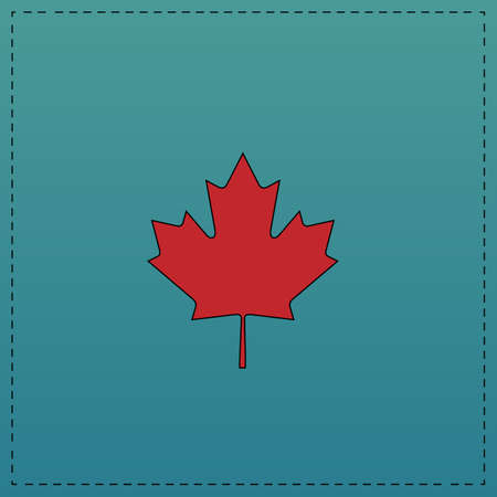 calgary: Canadian Leaf Red vector icon with black contour line. Flat computer symbol on blue background
