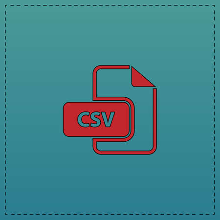 CSV Red vector icon with black contour line. Flat computer symbol on blue background