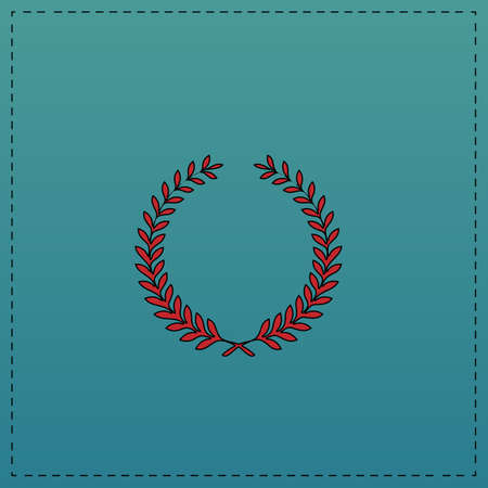wreath Red vector icon with black contour line. Flat computer symbol on blue background Illustration