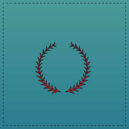 laureate: laureate wreath Red vector icon with black contour line. Flat computer symbol on blue background