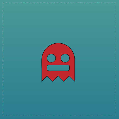 ghost Red vector icon with black contour line. Flat computer symbol on blue background