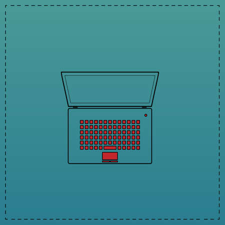 netbook Red vector icon with black contour line. Flat computer symbol on blue background Illustration