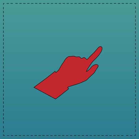 Hand Cursor Red vector icon with black contour line. Flat computer symbol on blue background