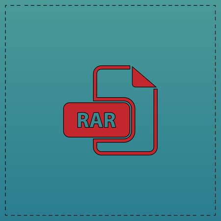 rar: RAR Red vector icon with black contour line. Flat computer symbol on blue background Illustration