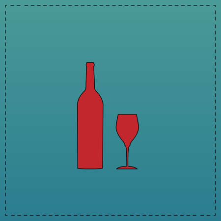 Bottle and glass Red vector icon with black contour line. Flat computer symbol on blue background