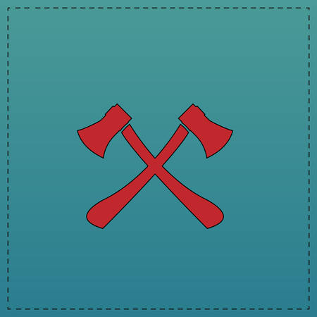 Two axes Red vector icon with black contour line. Flat computer symbol on blue background Illustration