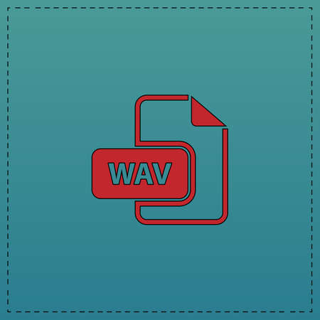 wav: WAV Red vector icon with black contour line. Flat computer symbol on blue background Illustration