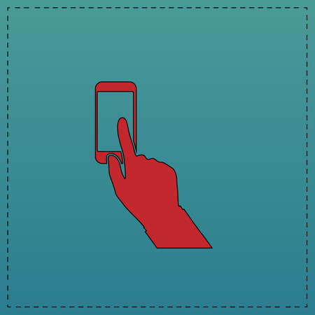 Use phone Red vector icon with black contour line. Flat computer symbol on blue background